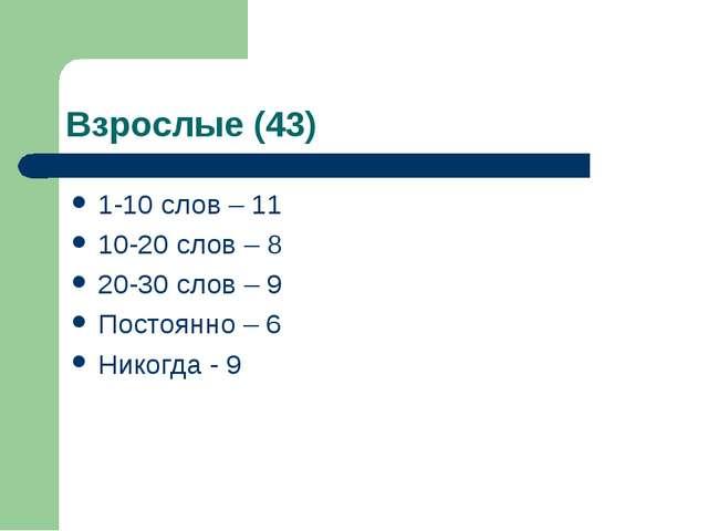 Взрослые (43) 1-10 слов – 11 10-20 слов – 8 20-30 слов – 9 Постоянно – 6 Нико...