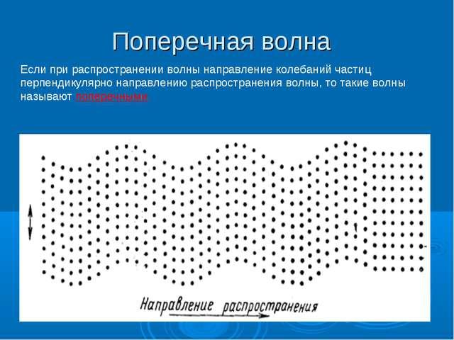 Поперечная волна Если при распространении волны направление колебаний частиц...