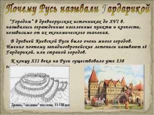"""""""Городом"""" в древнерусских источниках до XVI в. назывались огражденные населе"""