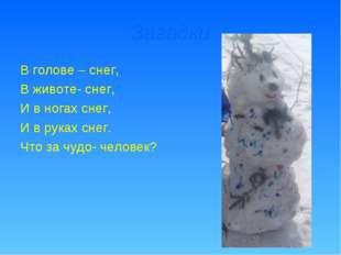 Загадки В голове – снег, В животе- снег, И в ногах снег, И в руках снег. Что