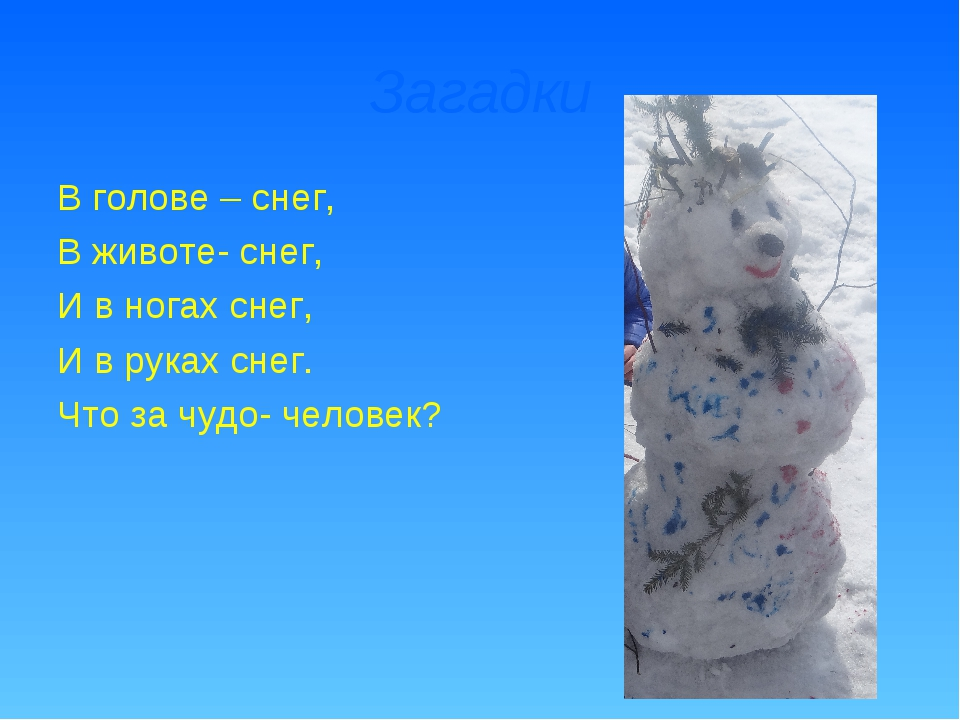 Загадки В голове – снег, В животе- снег, И в ногах снег, И в руках снег. Что...