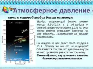 Атмосферное давление - сила, с которой воздух давит на земную поверхность. Во