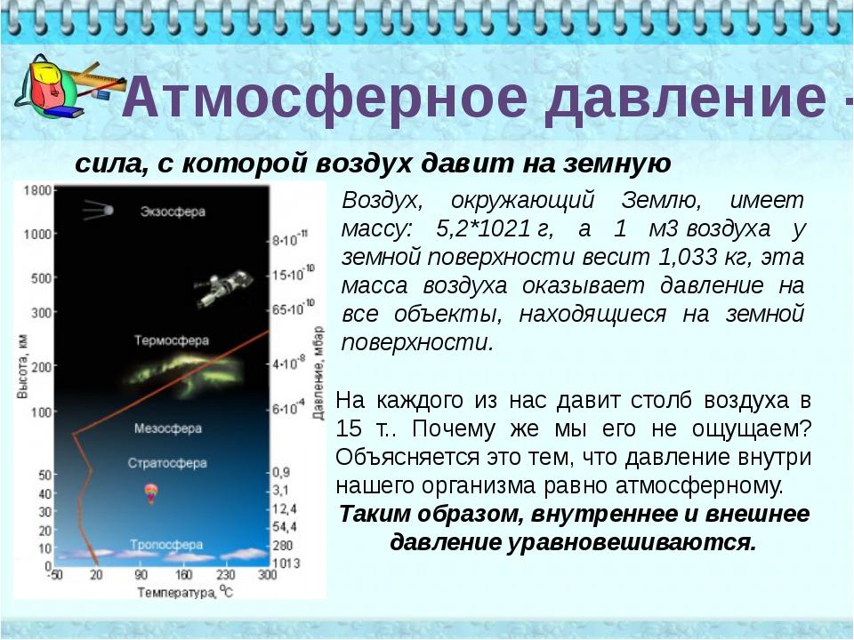 Атмосферное давление - сила, с которой воздух давит на земную поверхность. Во...