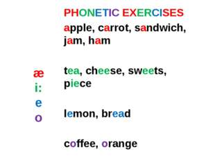 æ i: e o PHONETIC EXERCISES apple, carrot, sandwich, jam, ham tea, cheese, sw
