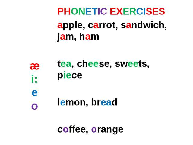 æ i: e o PHONETIC EXERCISES apple, carrot, sandwich, jam, ham tea, cheese, sw...