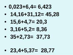 0,023+6,4= 6,423 14,16+31,12= 45,28 15,6+4,7= 20,3 3,16+5,2= 8,36 35+2,73= 3