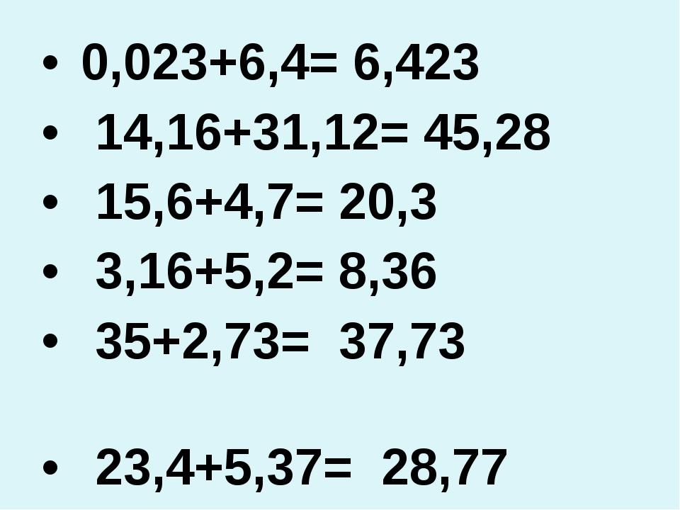 0,023+6,4= 6,423 14,16+31,12= 45,28 15,6+4,7= 20,3 3,16+5,2= 8,36 35+2,73= 3...