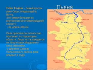 Река Пьяна - левый приток реки Суры, впадающей в Волгу. Это самая большая из