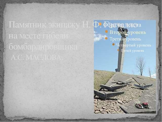 Памятник экипажу Н.Ф.Гастелло на месте гибели бомбардировщика А.С. МАСЛОВА.