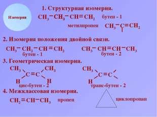 СН2 СН СН3 Н Изомерия 1. Структурная изомерия. СН2 СН3 С СН2 СН3 С СН2 бутен