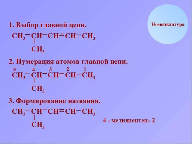 Н С Номенклатура 1. Выбор главной цепи. Н Н3 С С С С С СН3 Н Н Н3 2. Нумераци...
