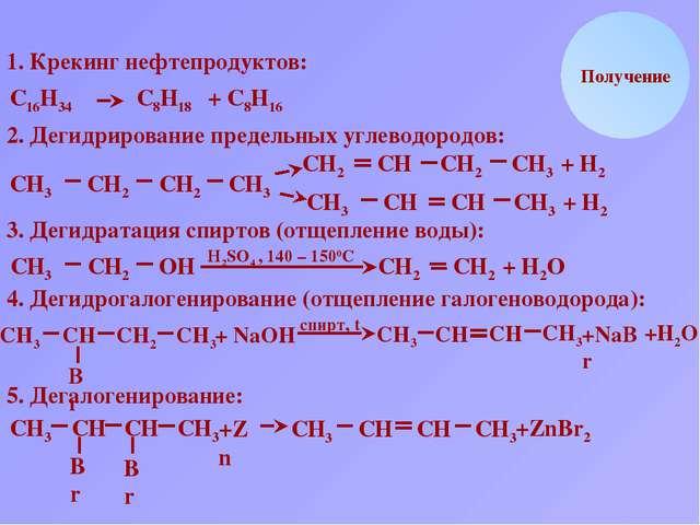 Br СН2 Получение 1. Крекинг нефтепродуктов: С16Н34 С8Н18 + С8Н16 2. Дегидриро...