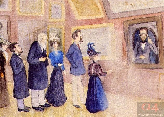 А.П. Чехов в Третьяковской галерее перед своим портретом работы И.Э. Браза. Рисунок А. Хотяинцевой