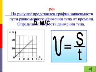 (50) На рисунке представлен график зависимости пути равномерного движения тел
