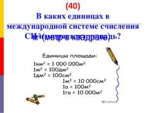 (40) В каких единицах в международной системе счисления СИ измеряется площадь