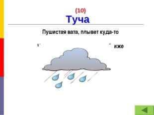 (10) Пушистая вата, плывет куда-то Чем вата ниже, тем дождик ближе Туча