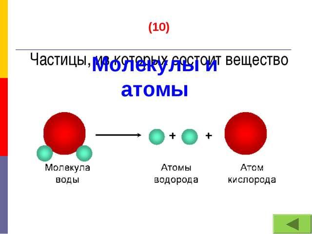 (10) Частицы, из которых состоит вещество Молекулы и атомы
