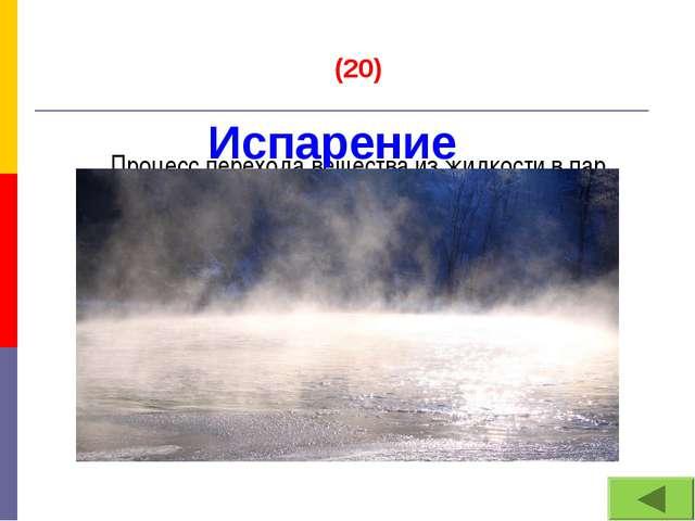 (20) Процесс перехода вещества из жидкости в пар Испарение