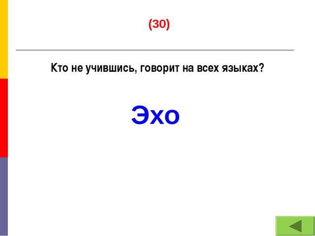 (30) Кто не учившись, говорит на всех языках? Эхо
