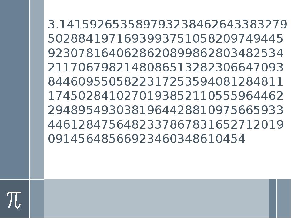 3.141592653589793238462643383279502884197169399375105820974944592307816406286...