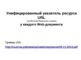 Унифицированный указатель ресурса URL (Uniformed Resource Locator) у каждого