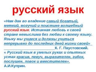 русский язык «Нам дан во владение самый богатый, меткий, могучий и поистине в