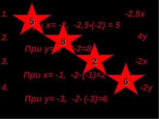 1. 2,5х•(3х-1)-1,5•(5х+2)+3х= -2,5х При х= -2, -2,5•(-2) = 5 2.0,15у•(у-4)-0,