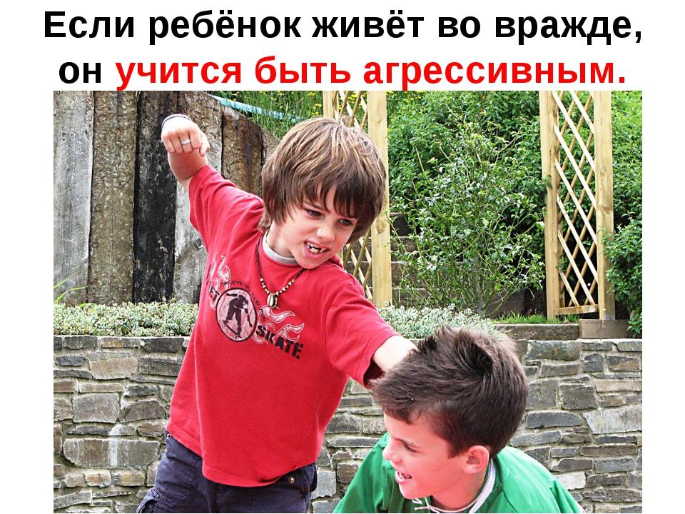 Если ребёнок живёт во вражде, он учится быть агрессивным.