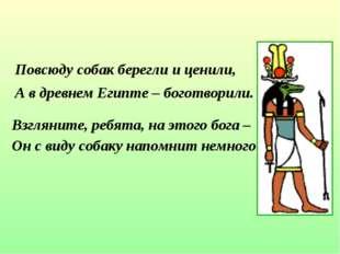 Повсюду собак берегли и ценили, А в древнем Египте – боготворили. Взгляните,