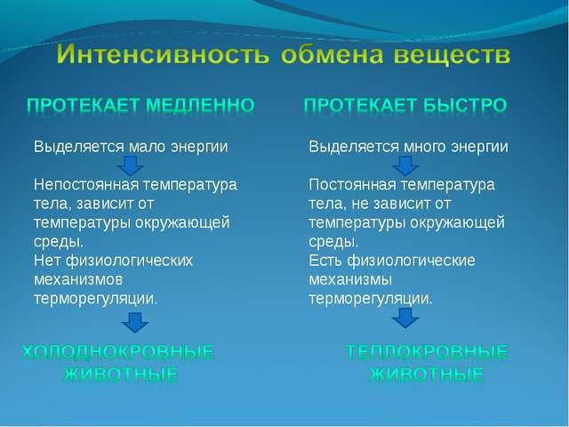 Выделяется мало энергии Непостоянная температура тела, зависит от температуры...