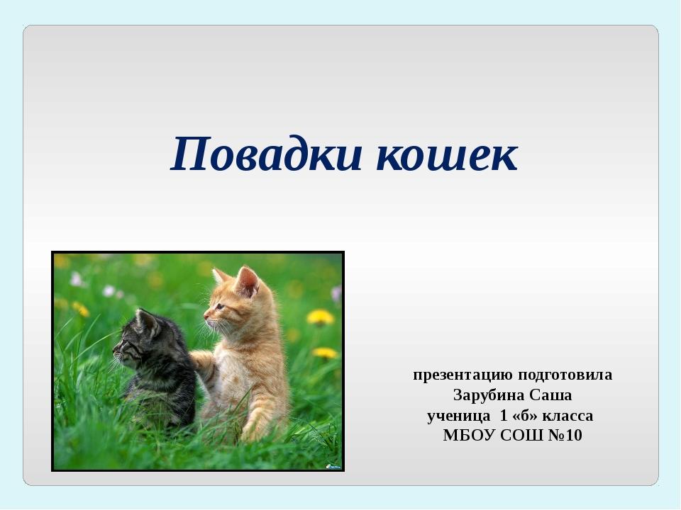 Повадки кошек презентацию подготовила Зарубина Саша ученица 1 «б» класса МБОУ...