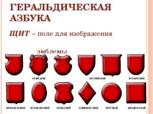 ГЕРАЛЬДИЧЕСКАЯ АЗБУКА ЩИТ – поле для изображения эмблемы.