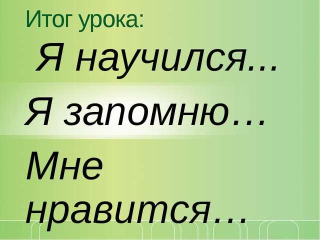 Итог урока: Я научился... Я запомню… Мне нравится… щелкните, чтобы… © Корпора...