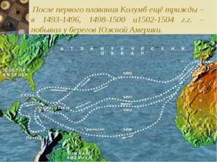 После первого плавания Колумб ещё трижды – в 1493-1496, 1498-1500 и1502-1504