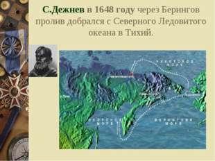 С.Дежнев в 1648 году через Берингов пролив добрался с Северного Ледовитого ок