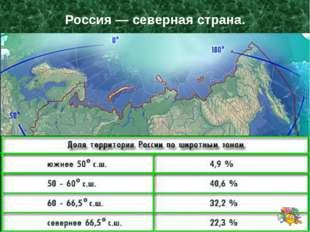 Россия — северная страна. Доля России по Широтным зонам