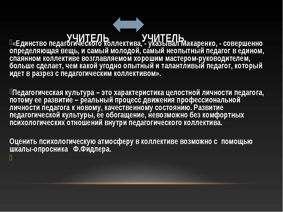 УЧИТЕЛЬ УЧИТЕЛЬ «Единство педагогического коллектива, - указывал Макаренко, -...