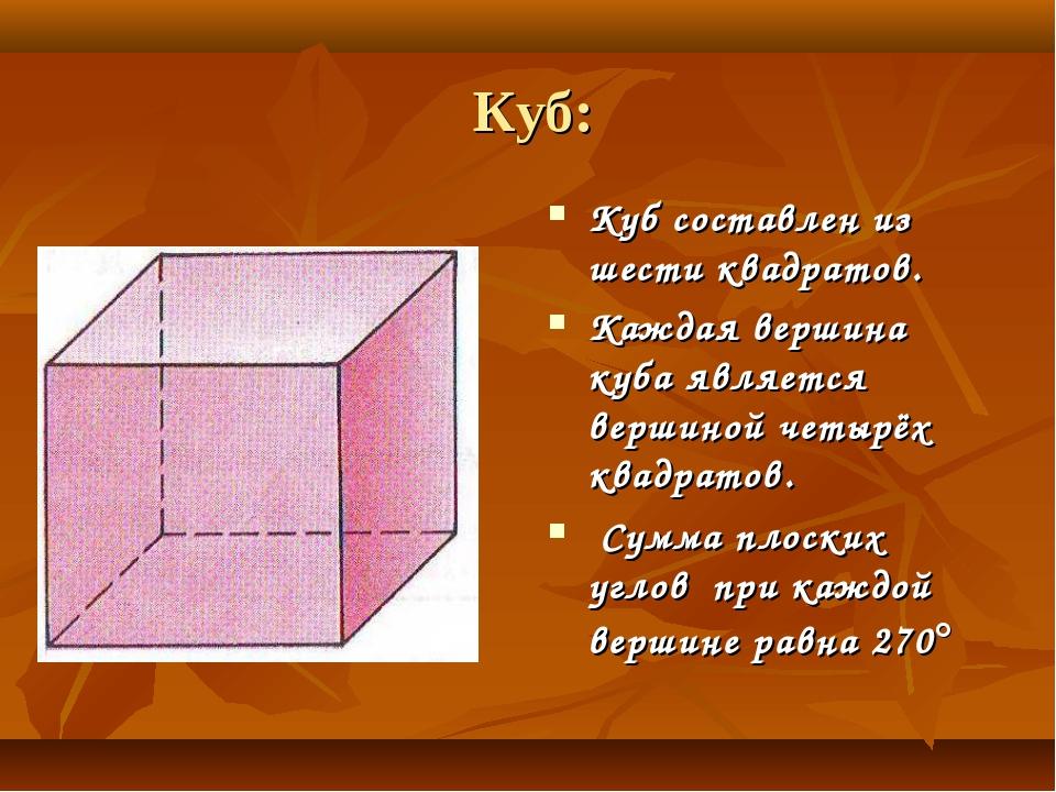 Куб: Куб составлен из шести квадратов. Каждая вершина куба является вершиной...