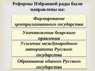 Реформы Избранной рады были направлены на: