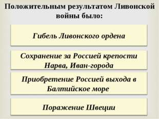 Положительным результатом Ливонской войны было: