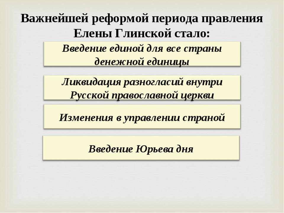 Важнейшей реформой периода правления Елены Глинской стало:
