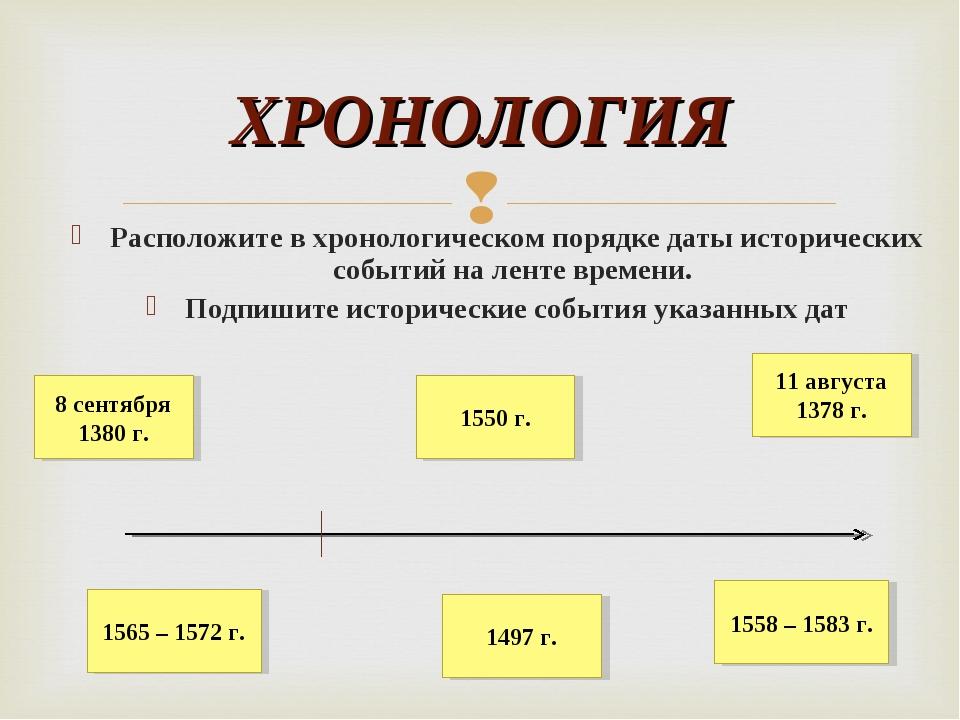 Расположите в хронологическом порядке даты исторических событий на ленте врем...