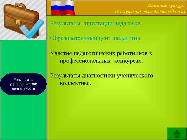 Результаты управленческой деятельности Результаты аттестации педагогов. Образ...