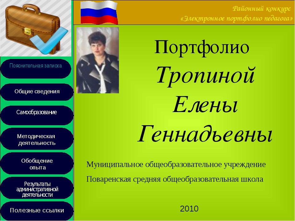 Районный конкурс «Электронное портфолио педагога» Муниципальное общеобразоват...