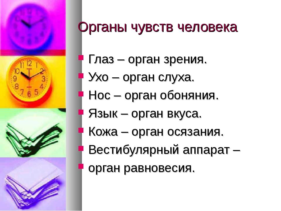 Органы чувств человека Глаз – орган зрения. Ухо – орган слуха. Нос – орган об...
