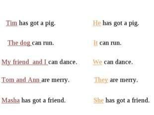 Tim has got a pig. He has got a pig. The dog can run. It can run. My friend a