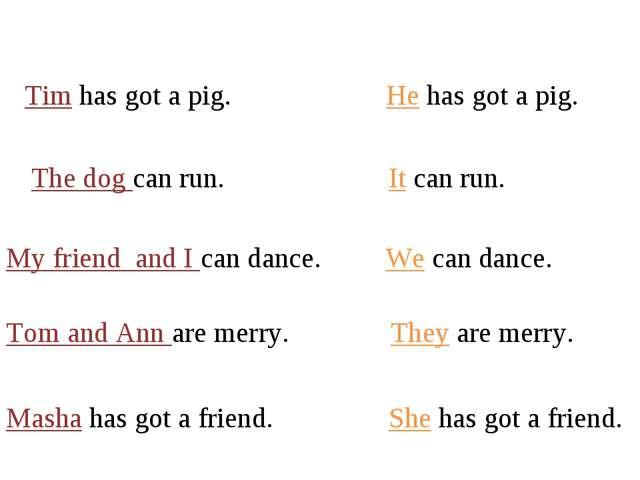 Tim has got a pig. He has got a pig. The dog can run. It can run. My friend a...