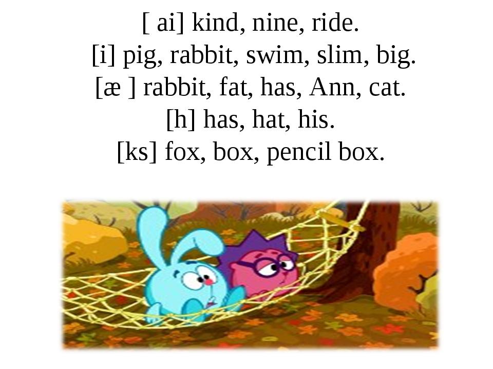 [ ai] kind, nine, ride. [i] pig, rabbit, swim, slim, big. [æ ] rabbit, fat, h...
