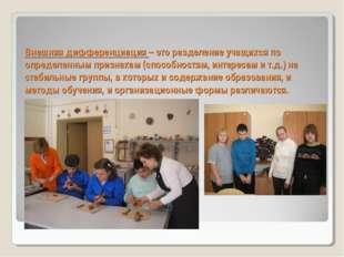 Внешняя дифференциация – это разделение учащихся по определенным признакам (с