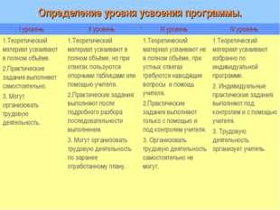 Определение уровня усвоения программы. I уровень II уровень III уровень IV